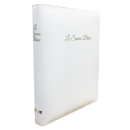 Bible Segond 1910 gros caractères cuir blanc tr.or glissieère coffret